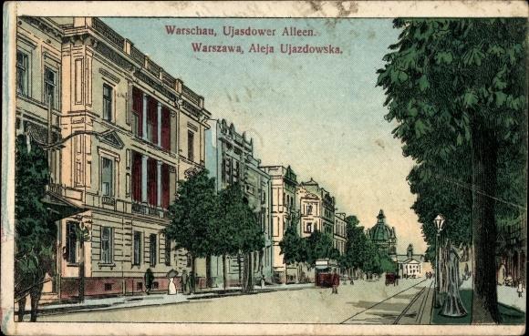 Künstler Ak Warszawa Warschau Polen, Ujasdower Alleen, Aleja Ujazdowska
