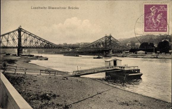 Ak Dresden Nordost Loschwitz, Blick zur Blasewitzer Brücke