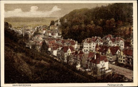 Ak Saarbrücken im Saarland, Blick auf den Ort mit Umgebung, Feldmannstraße
