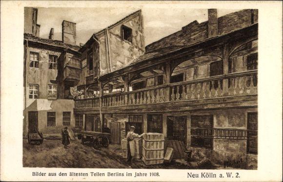 Künstler Ak Zuckert, J., Berlin Neukölln Rixdorf, Bilder aus den ältesten Teilen im Jahre 1908