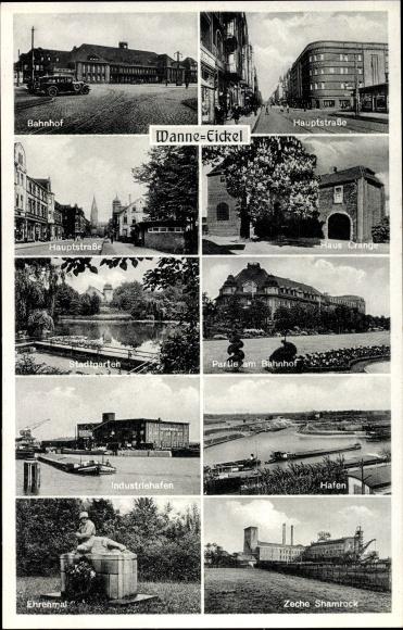 Ak Wanne Eickel Herne Ruhrgebiet, Bahnhof, Hauptstraße, Hafen, Zeche Shamrock, Ehrenmal