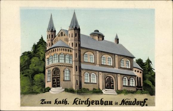 Künstler Ak Neudorf Sehmatal, Zum kath. Kirchenbau, Architekturprojekt