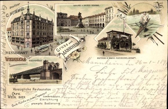 Litho Mannheim in Baden Württemberg, Restaurant Weinberg, Bes. G. Hummel, Schloss