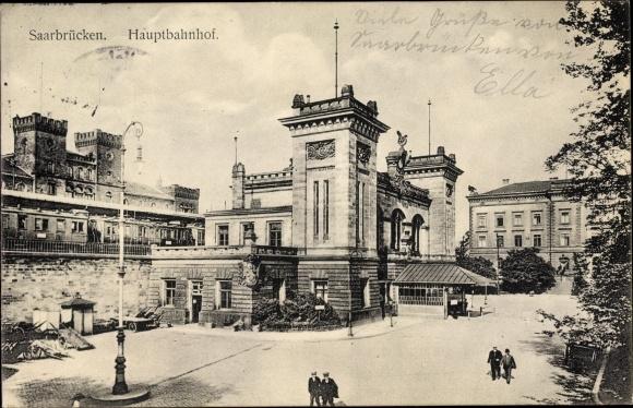 Ak Saarbrücken im Saarland, Partie am Hauptbahnhof