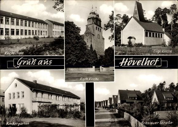 Passepartout Ak Hövelhof NRW, Kirchschule, Kath. Kirche, Evgl. Kirche, Kindergarten, Breslauer Str.