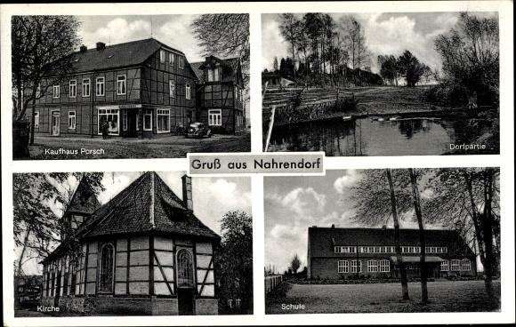 Ak Nahrendorf in Niedersachsen, Stadtansichten, Kaufhaus Porsch, Kirche, Schule