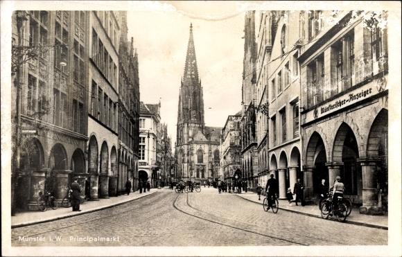 Ak Münster in Westfalen, Partie auf dem Prinzipalmarkt, Münsterischer Anzeiger