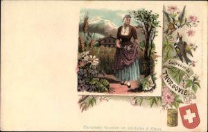 Litho Kanton Thurgau, Souvenir de Thurgovie, Schweizerin, Caramels fourrés J. Klaus