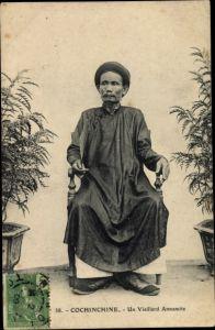 Ak Cochinchine Vietnam, Un vieillard Annamite, Alter Vietnamese