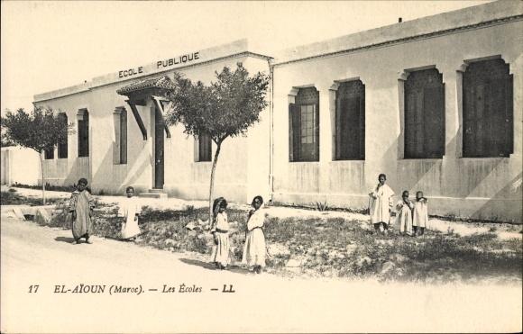 Ak El Aioun Marokko, Les Ecoles, Ecole Publique, Kinder vor der Schule, LL.