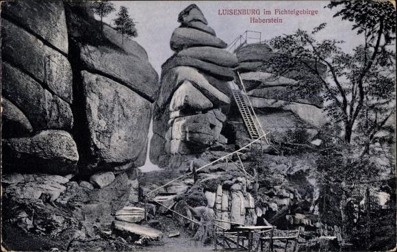 Ak Wunsiedel im Tal der Röslau Oberfranken, Luisenburg im Fichtelgebirge, Partie am Haberstein