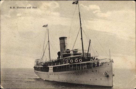Ak Dampfschiff SS Hertha, Reederei Braeunlich Stettin, Auf See