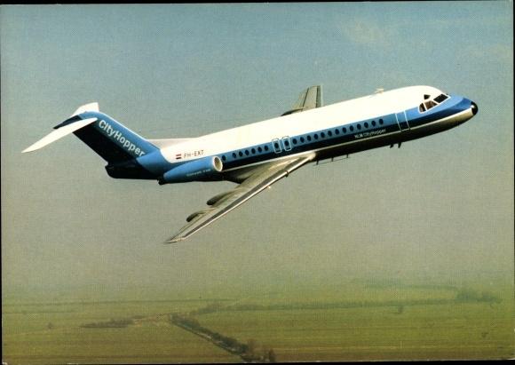 Ak Flugzeug NLM City Hopper, Nederlandse Luchtvaart Maatschappij, Fokker Fellowship F-28, PH-EXT