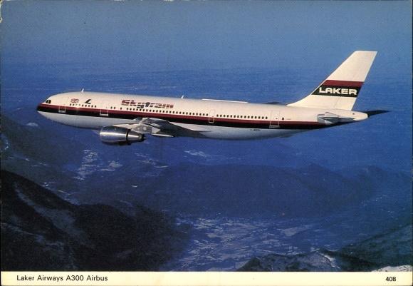 Ak Britisches Passagierflugzeug der Laker Airways, A300 Airbus, Skytrain