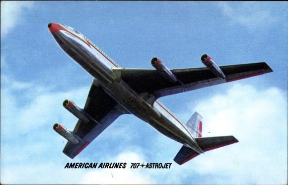 Ak Amerikanisches Passagierflugzeug der American Airlines, 707 Astrojet