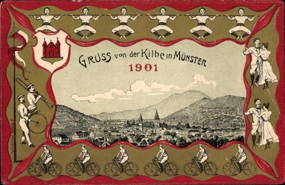 Passepartout Litho Munster Münster Elsass Haut Rhin, Gruß von der Kilbe 1901