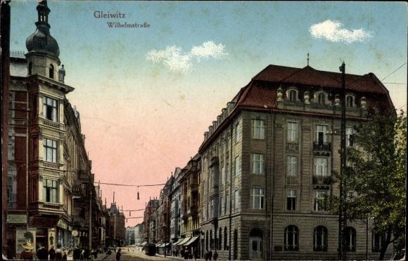 Ak Gliwice Gleiwitz Schlesien, Partie auf der Wilhelmstraße