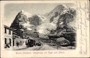 Ak Kt. Bern Schweiz, Berner Oberland, Wengernalp mit Eiger und Mönch, Bahnstrecke, Eisenbahn