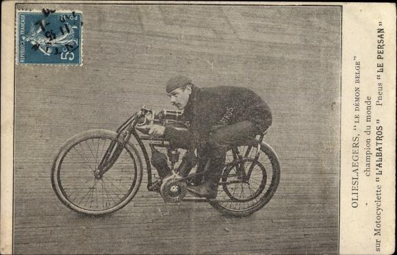 Ak Olieslaegers, Le Démon Belge, Champion du Monde, Motocyclette L'Albatros, Pneus Le Persan