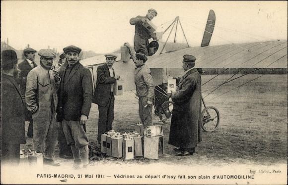 Ak Raid Paris-Madrid, 21. Mai 1911, Védrines au départ d'Issy fait son plain d'Automobiline