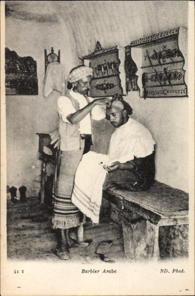 Ak Barbier arabe, Arabischer Barbier bei der Arbeit, Neurdein