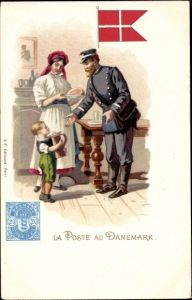Briefmarken Litho Dänemark, La Poste au Danemark, Postbote
