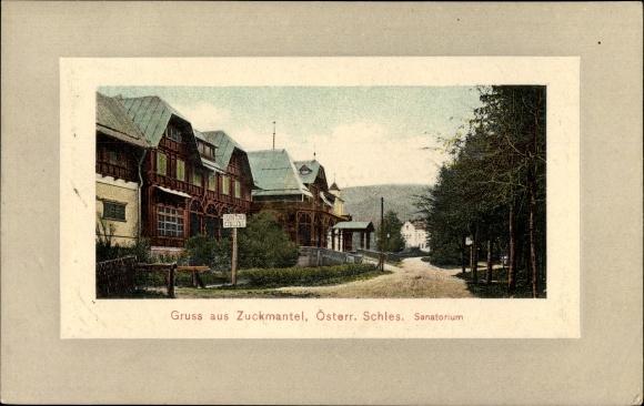 Ak Zlaté Hory Zuckmantel Reg. Olmütz, Straßenpartie vor dem Sanatorium