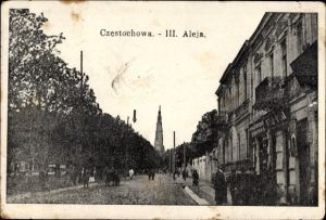 Ak Częstochowa Tschenstochau Schlesien, III. Aleja, Straßenpartie