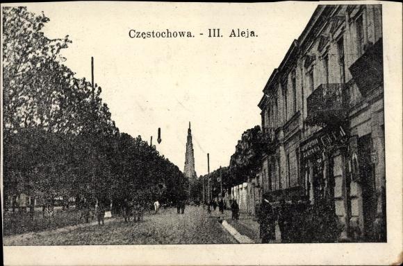 Ak Czestochowa Schlesien, iii. Aleja, Straßenpartie in der Stadt
