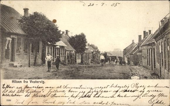 Ak Vestervig Thisted Dänemark, Straßenpartie im Ort, Geschäft N. I. Thykier