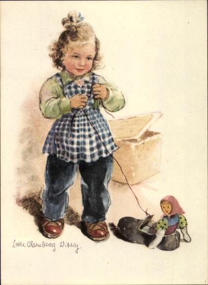 Künstler Ak Oldenburg Wittig, Lotte, Mädchen spielt mit ihrer Puppe