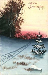 Handgemalt Ak Frohe Weihnachten, Winterlandschaft, Tannenbaum