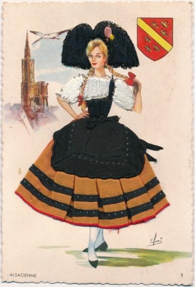 Künstler Material Ak Alsacienne, Frau in Volkstracht, Wappen