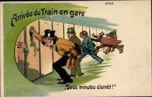 Litho Arrivée du train en gare, Deux minutes d'arrêt, Szene am Bahnhof,Leute rennen auf die Toilette