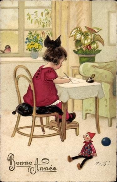 Künstler Ak Baumgarten, Fritz, Glückwunsch Neujahr, Mädchen schreibt einen Brief, Puppe