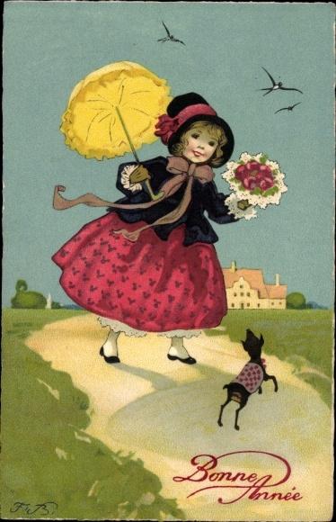Künstler Ak Baumgarten, Fritz, Glückwunsch Neujahr, Mädchen mit Blumen, Hund