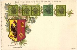 Briefmarken Litho Genève Genf Stadt, Poste de Genève, Port Cantonal, Wappen