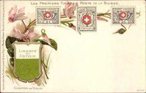Briefmarken Litho Kt. Waadt, Les Premiers Timbres Poste de la Suisse, Wappen