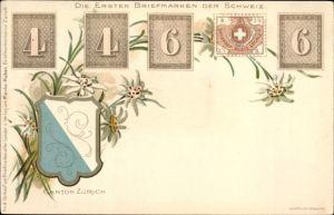 Briefmarken Litho Kt. Zürich, Die ersten Briefmarken der Schweiz, Wappen