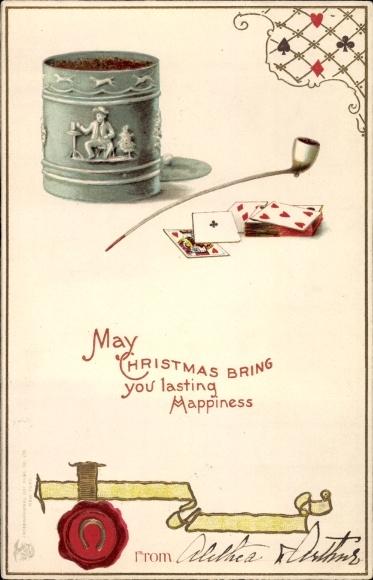 Präge Ak May Christmas bring you lasting happiness, Frohe Weihnachten, Spielkarten, Pfeife, Hufeisen