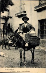 Ak Cordoba Andalusien Spanien, Tipos y Costumbres, Spanier auf einem Esel, Reiter