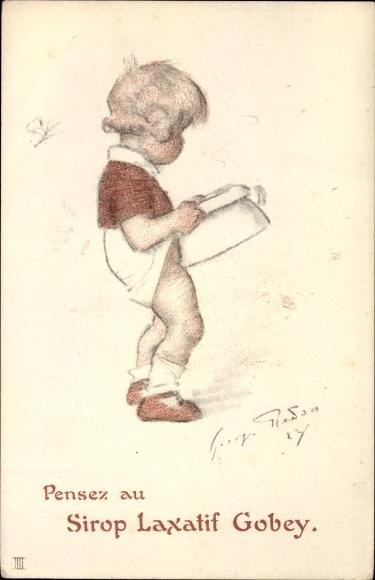 Künstler Ak Pensez au Sirop Laxatif Gobey, Kleinkind mit Nachttopf, Abführmittel Reklame