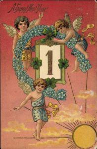 Präge Ak Glückwunsch Neujahr, Engel, Kalender, Hufeisen, Vergissmeinnicht, Sonne