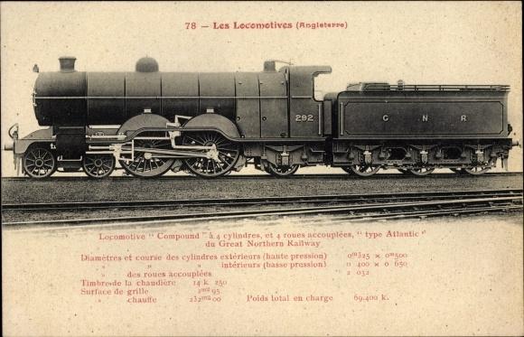 Ak Britische Dampflokomotive, Locomotive Compound, type Atlantic, Great Northern Railway