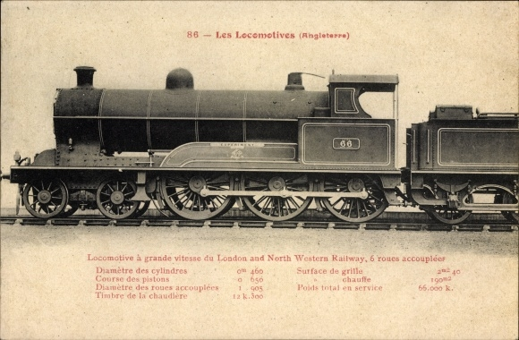 Ak Britische Dampflokomotive, Experiment No. 66, London and North Western Railway