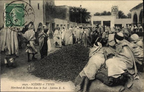 Ak Scenes et Types, Marchand de Dattes dans le Sud, Marktszene, Dattelhändler
