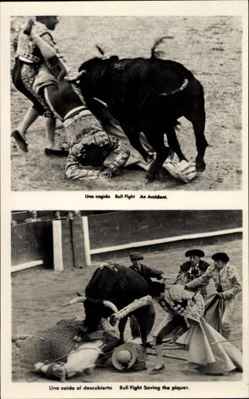 Ak Stierkampf, Stier nimmt Torero auf die Hörner, gestürzter Reiter