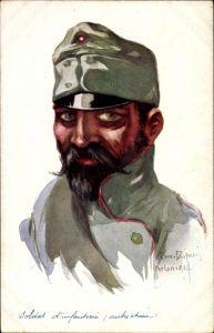 Künstler Ak Leurs Caboches, Soldat d'infanterie autrichien, Österreichischer Soldat, I.WK