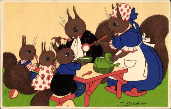 Künstler Ak Schermelé, Willy, Eichhörnchenfamilie am Esstisch