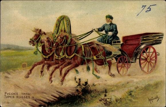 Künstler Ak Heroebb, A., Russische Volkstypen, Mann auf einer dreispännigen Kutsche